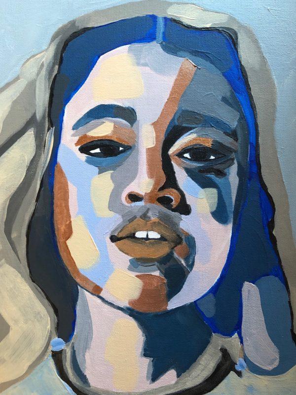 Schilderiij portret van Eliane Douglas bij Chez freddy art & design in Haarlem