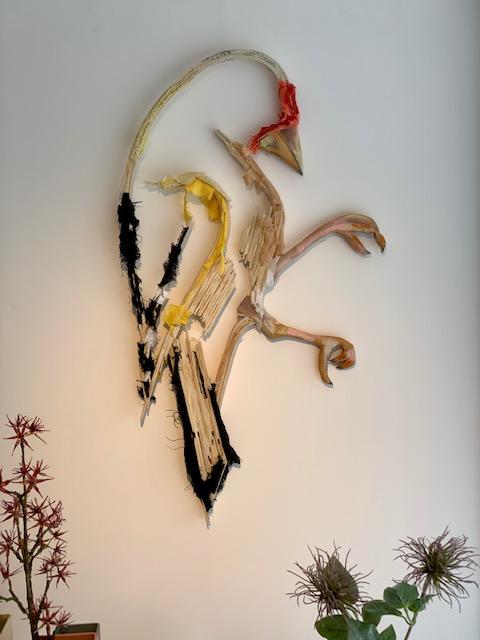 Dit een wandsculptuur van een Putter gemaakt door kunstenaar Wilco Kwerreveld. Het werk hangt bij galerie Chez freddy art & design in Haarlem.