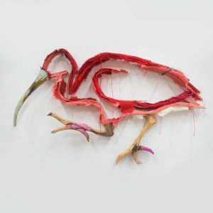 This is a wall sculpture of a red ibis made by Wilco Kwerreveld. This hangs at Chez Freddy in Haarlem