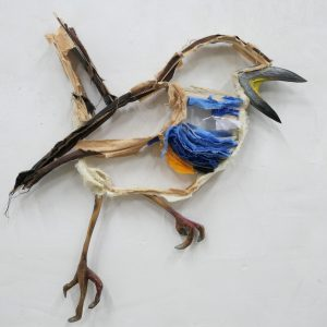 This a Bluethroat wall sculpture of a Goldfinch made by artist Wilco Kwerreveld. The work hangs at the Chez freddy art & design gallery in Haarlem.
